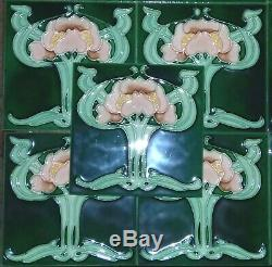 10 Green Art Nouveau Floral Majolica Tile Chinese 6 x 6 8 Millimeter THICK NOS