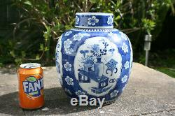 10 Tall 19th C. Antique Chinese Porcelain Blue White Large Jar with Lid Marks