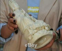 10Chinese Dehua Porcelain lotus Ruyi Kwan-yin Guanyin Bodhisattva Buddha statue