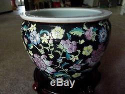 12 Planter Flower Pot Jardiniere Fish Bowl Chinese Porcelain Famille Rose Noir