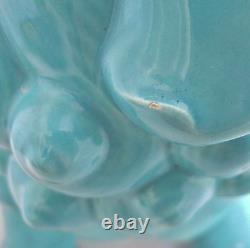 13.5 Vintage Chinese or Japanese Style Turquoise Blue Porcelain FOO DOG / Lion