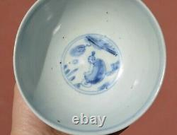 16th Century Chinese Ming Blue & White Porcelain Bowl Figure Figure Marked
