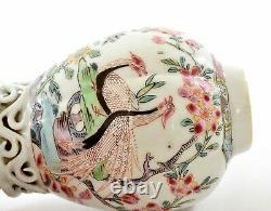 17C Chinese Export 2 Gilt Famille Rose Porcelain Vase Tea Caddy Goose Peacock
