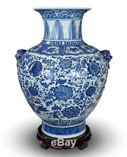 18 Classic Blue and White Floral Porcelain Vase, Double Lion Head Ears Ceram