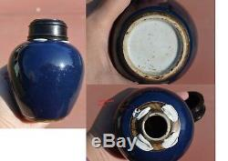 18C Chinese Cobalt Blue Glaze Monochrome Porcelain Tea Caddy Vase Wood Cover Lid