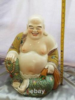 19 Antique Chinese Famille Rose Porcelain Laughing Buddha Qing Dynasty Marked