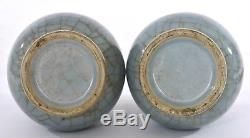 1900's 2 Chinese Ge Gu Guan Type Crackle Glaze Celadon Porcelain Vase Ring Ears
