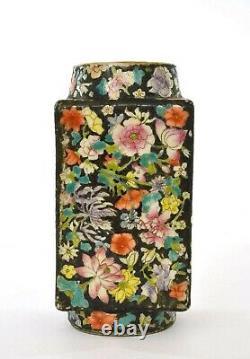 1900's Chinese Famille Rose Noire Porcelain Millefleur Square Vase Flowers Mk