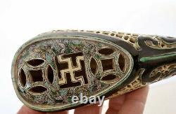 1900's Chinese Famille Verte Porcelain Scholar Lotus Shaped Shoe Perfume Censer