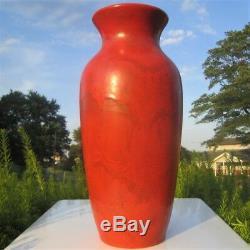 1920s WELLER CHENGTU AMERICAN ART POTTERY LARGE 15 FLOOR VASE CHINESE RED GLAZE