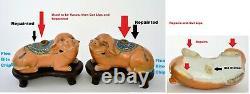 19C Chinese 2 Export Famille Rose Porcelain Dog Lion Incense Burner Censer AS IS