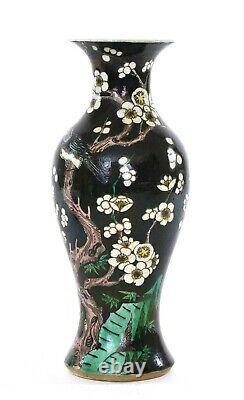 19C Chinese Famille Rose Noire Black Ground Porcelain Vase Plum Blossom