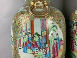 19th C. Chinese Pair Rose Medallion Porcelain Big Vases