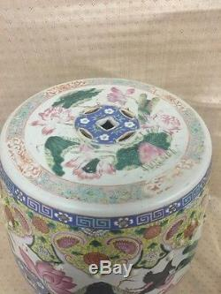 19th Century Antique Qing Period Chinese Porcelain Famille Garden Seat