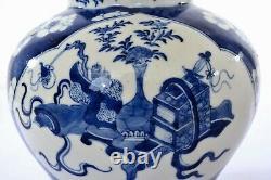 19th Century Chinese Blue & White Porcelain Covered Ginger Jar Pot Vase Marked