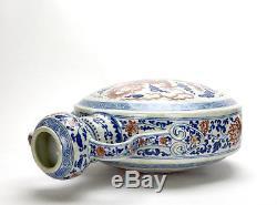 19th c. Chinese Qing Blue and White Enamel Dragon Ruyi Porcelain Moon Flask Vase