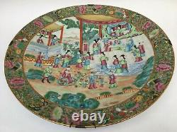 19thC CHINESE EXPORT PORCELAIN ROSE MANDARIN CHARGER / WALL PLATE 16 1/8