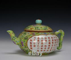 19thc Chinese Qing Jiaqing Turquoise Ground Famille Rose Floral Porcelain Teapot