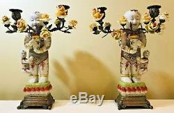 2 Antique Chinese Bronze Porcelain Figural Man Child Candelabra Candle Holders