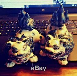 2 Chinese Antique Famille Verte Porcelain Foo Dogs 4 impressed seal cobalt wht