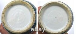2 Late 19C Chinese Famille Rose Verte Porcelain Vase Lion Ears Scholar Figure