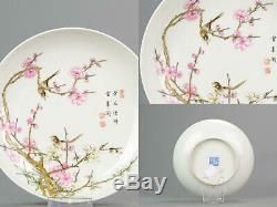 20/21C PROC Chinese Porcelain Plate PRUNUS TREE BIRD Yongzheng Markedz