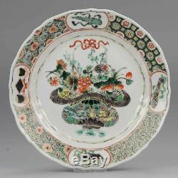 20.3cm Antique 18C Chinese Porcelain Kangxi Dish Plate Famille Verte Flower B