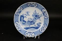 23.2 cm Antique Chinese Porcelain Dish with Hunting Scene, Kangxi 1662-1722
