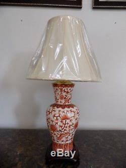 25 Pair Of Lamps Iron Red & White Chinese Porcelain Vase