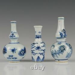 3 Nice Chinese B&W porcelain dollhouse vases, Kangxi, 18th ct