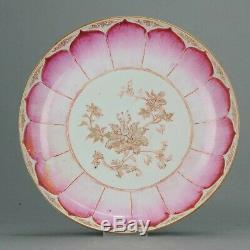 30CM Antique 18C Chinese Porcelain Plate Lotus Flower Pattern Antique Ra