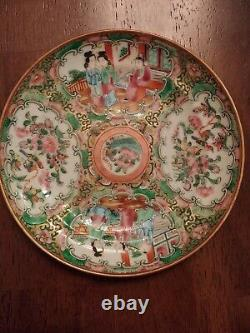 4 UNMARKED Antique Chinese Export Porcelain Famille Rose Medallion 6 Plates