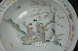 42cm Large Antique Chinese Porcelain Bowl Basin Beautiful Women in Garden Qing