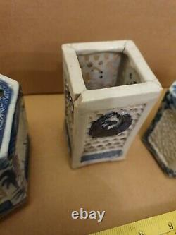 5 of Antique Chinese Blue & White Reticulated Porcelain Cricket Cages Brush Pots