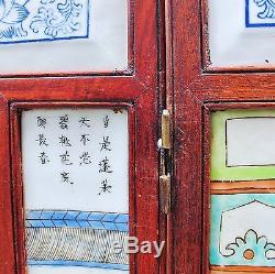 51 Antique or Vintage Chinese 8 Panel Porcelain Tile & Wood Screen with Immortals