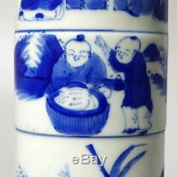 9H KangXi Marks Exquisite Chinese Blue And White Porcelain Figure Painting Vase