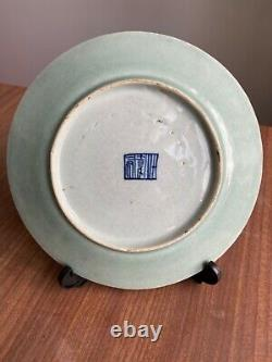 A Antique 19th c. Chinese Celadon Porcelain Plate Famille Rose #4