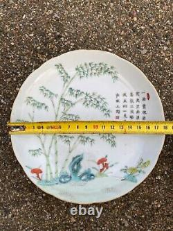 A Antique Chinese Bamboo Plate w Tongzhi Mark and Period in Porcelain