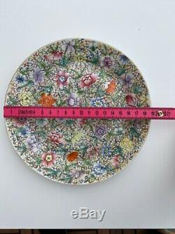A Antique Chinese Porcelain Millefleur Rose Plate Dish with Guangxu Mark
