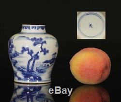 A BEAUTIFUL antique CHINESE PORCELAIN BLUE & WHITE KANGXI LANDSCAPE VASE 1700