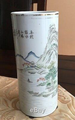 A Chinese Porcelain Hatstand Vase Landscaping with Caligraphy