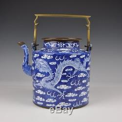 A Large 19th Ct Chinese Blue & White Porcelain Teapot / Kettle With Dragons