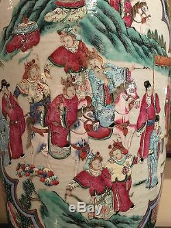 A Monumental Chinese Qing Dynasty Famille Rose Porcelain Figure Vase