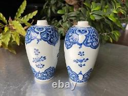 A Pair of Chinese Kangxi Period Blue and White Floral Ovoid Vases