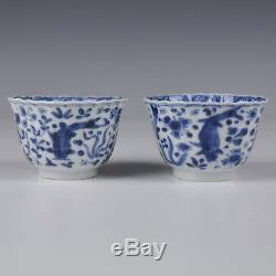 A Perfect Pair Blue & White Chinese Porcelain 18th Ct Kangxi Period Cups Fish