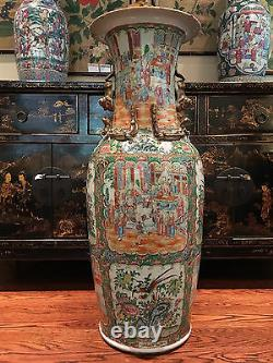 A Rare Monumental Chinese Export Porcelain Rose Medallion Palace Vase