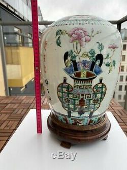 A19th c Antique Chinese Porcelain Famille Rose Jar w Precious Antiques