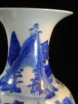 ANCIEN GRAND VASE signé PORCELAINE BLANC BLEU ASIATIQUE ANTIQUE CHINE CHINESE