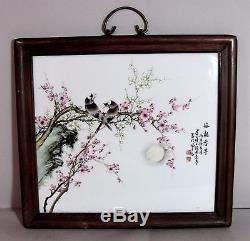 ANTIQUE CHINESE FAMILLE ROSE PORCELAIN PLAQUE with Frame by Master Cheng Yi Ting