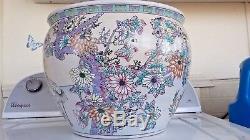 ANTIQUE Chinese Famille Porcelain 12 FISHBOWL PLANTER Vase Cachepot Crock